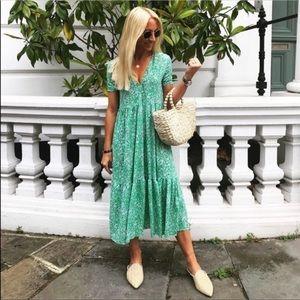 ZARA | Green Floral Maxi Blogger Summer Dress L